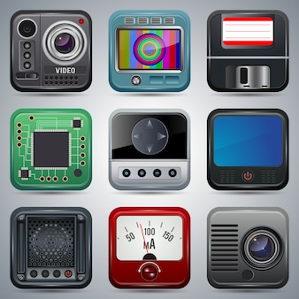 Coleção de vetores de ícones de aplicativo. miniaturas de equipamentos digitais e elétricos