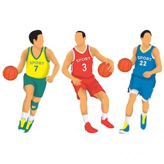 Coleção de vetores de jogadores de basquete