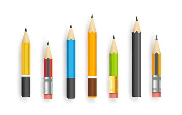 Coleção de vetores de lápis curtos realista isolada no branco