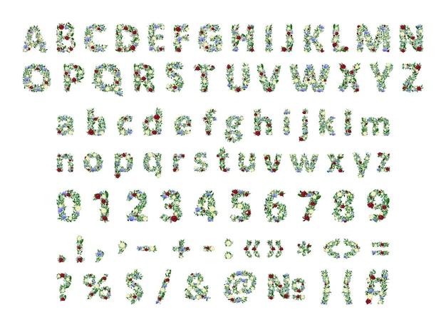 Coleção de vetores de letras, números e sinais de pontuação com flores e ramos