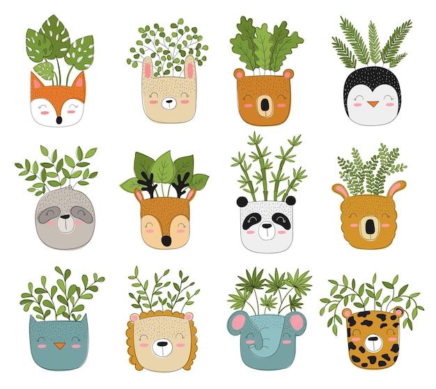 Coleção de vetores de lindas plantas caseiras em vasos de animais engraçados