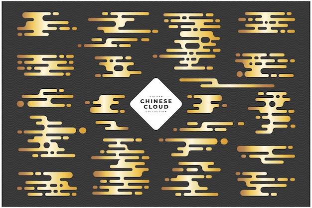 Coleção de vetores de linha de nuvem chinesa dourada
