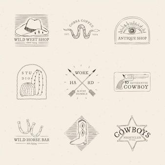 Coleção de vetores de logotipo com tema de caubói