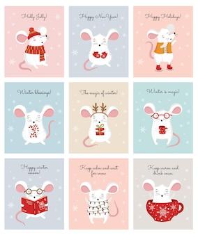 Coleção de vetores de mão desenhando ratos bonitos de inverno em roupas aconchegantes banner criativo com mouse engraçado