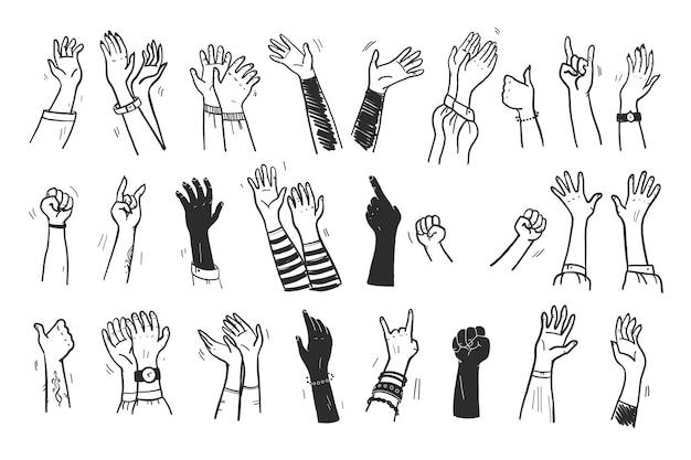 Coleção de vetores de mãos humanas para cima, gestos, polegar para cima, saudação, aplausos, etc., isolados no fundo branco. desenhado à mão, plano, estilo de esboço. para cartões, publicidade, banners, convites, etiquetas etc.