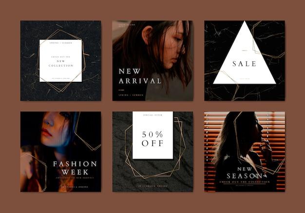 Coleção de vetores de modelo de banner de moda