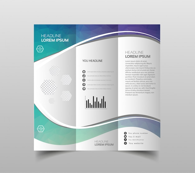 Coleção de vetores de modelos de design de folheto dobrável em três partes