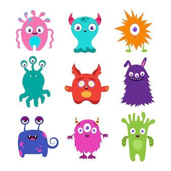 Coleção de vetores de monstros de bebê bonito dos desenhos animados