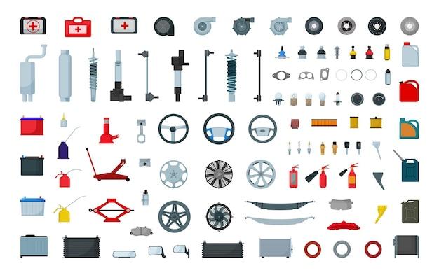 Coleção de vetores de peças sobressalentes. ferramentas de serviço do carro.