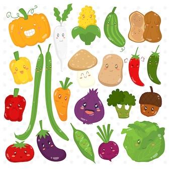 Coleção de vetores de personagens de desenhos animados de legumes engraçados