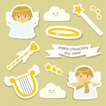 Coleção de vetores de personagens fofinhos de anjos