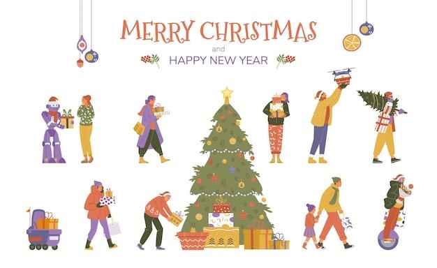 Coleção de vetores de pessoas e robôs com presentes de natal. árvore de natal com caixas de presentes.
