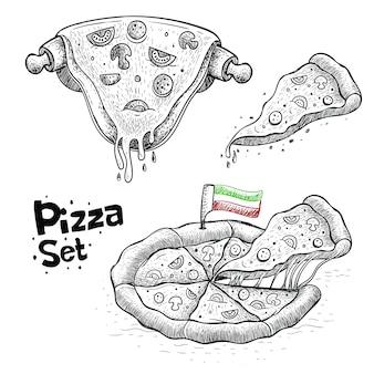 Coleção de vetores de pizza, ilustração de alimentos em estilo desenhado à mão