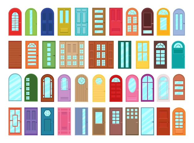 Coleção de vetores de portas coloridas em estilo simples