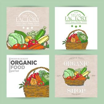 Coleção de vetores de quatro banners de vegetais