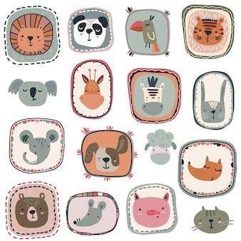 Coleção de vetores de rostos de animais bonitos desenhados à mão e lindas molduras em estilo escandinavo simples