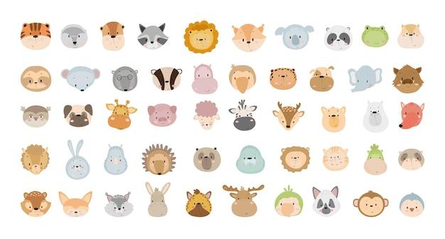 Coleção de vetores de rostos de animais bonitos dos desenhos animados.