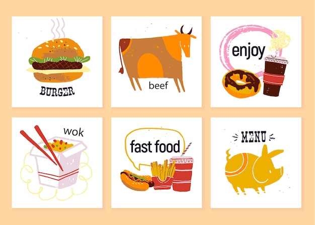 Coleção de vetores de rótulos de fast food para design de menu