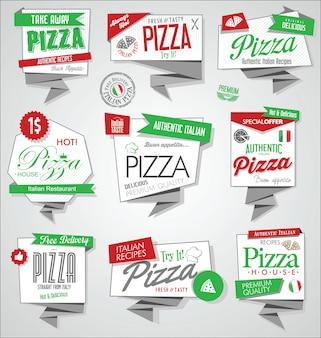 Coleção de vetores de rótulos de pizza e distintivos