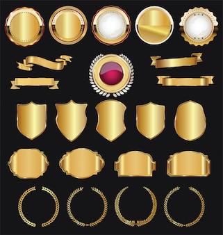 Coleção de vetores de rótulos e escudos de fitas retrô dourado