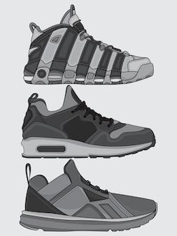 Coleção de vetores de sapatos de rua