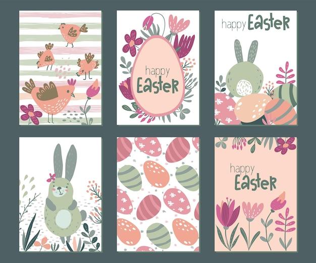 Coleção de vetores de seis cartões de páscoa com frango e flores de coelhos