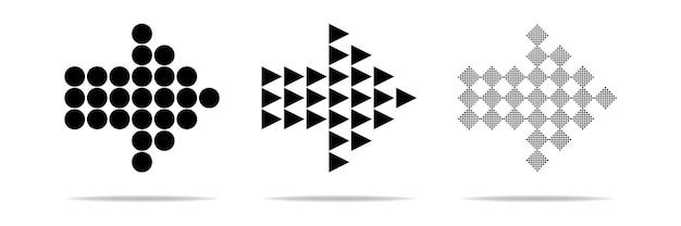 Coleção de vetores de setas conjunto preto de ícones de setas voltar próximo ícone de programa anterior ou web design