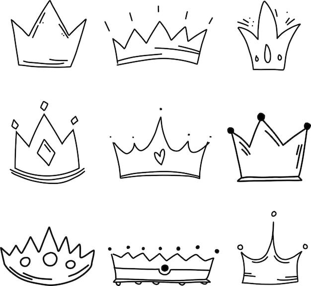 Coleção de vetores desenhados à mão coroa preto e branco incolor