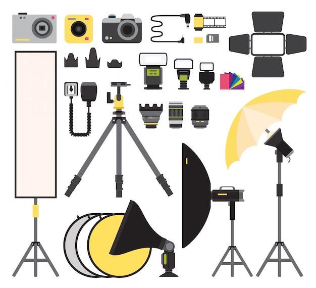 Coleção de vetores ícones da foto. equipamento de vetor plana de estúdio de fotografia. foto, símbolos, isolado