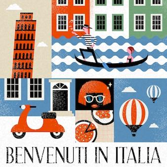 Coleção de viagens de arte pop da itália e palavras em italiano para bem-vindo à itália na parte inferior