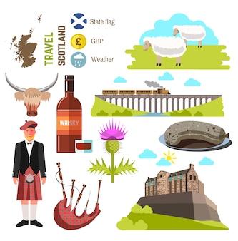 Coleção de viagens na escócia. ilustração vetorial.