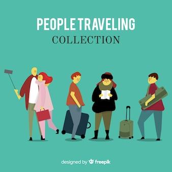 Coleção de viajante desenhada de mão
