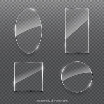 Coleção de vidro com formas diferentes