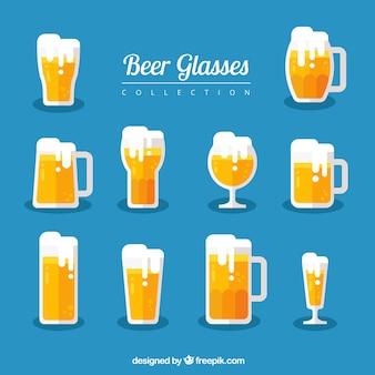 Coleção de vidro e copo de cerveja plana
