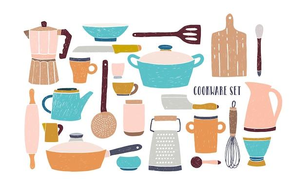 Coleção de vidros, utensílios de cozinha e utensílios de cozinha