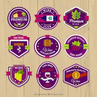 Coleção de vinho adesivos coloridos