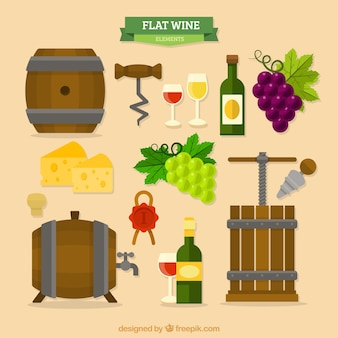 Coleção de vinho itens de barris em design plano