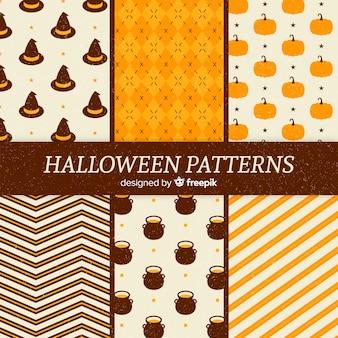 Coleção de vintage padrão de halloween