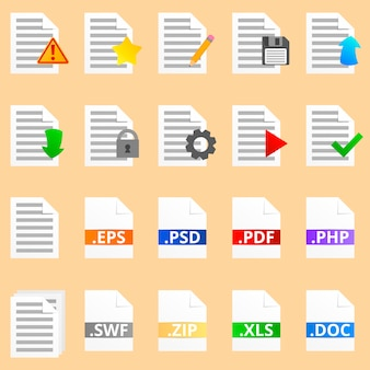 Coleção de vinte ícones de documento detalhado. colorido, oito ícones com extensão de ile.