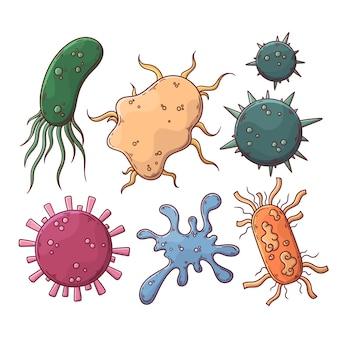 Coleção de vírus de estilo desenhado de mão