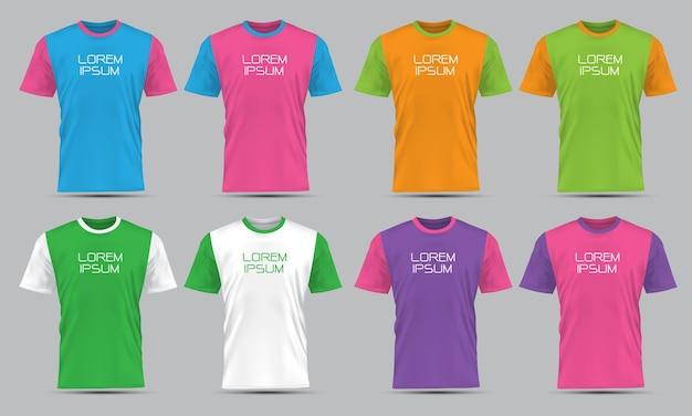 Coleção de vista frontal do esporte de t-shirt de vetor realista definida com texto na ilustração de fundo cinza.