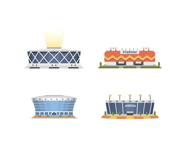 Coleção de vista frontal do estádio de esporte em desenhos animados. conjunto de ilustração exterior de arena da cidade. Vetor Premium