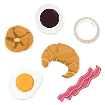 Coleção de vista superior de objetos de café da manhã
