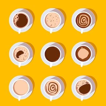 Coleção de vista superior de xícaras de café.