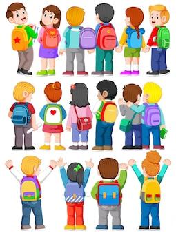 Coleção de vista traseira ilustração de estudante universitário usando mochilas