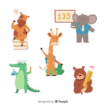 Coleção de volta para animais de escola