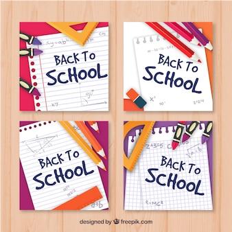Coleção de volta para cartões escolares
