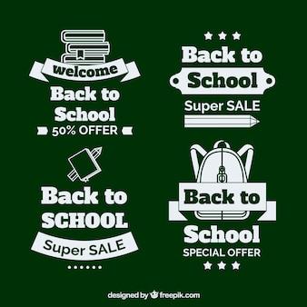 Coleção de volta para rótulos de venda de escola