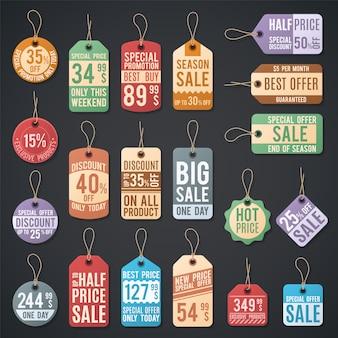 Coleção de web vector livre preço tag vector. etiqueta de venda livre para preço e oferta de ilustração de compras