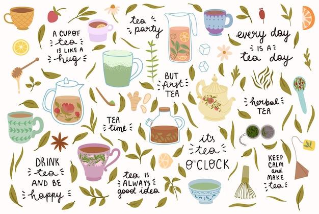Coleção de xícaras de chá, bules e chá de ervas.